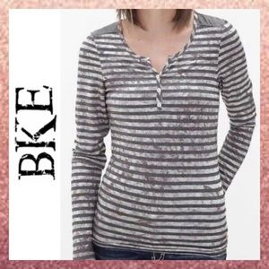 NEW BKE Gray Silver Striped Button Henley Small S